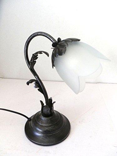 Lampe de table abat-jour en fer forgé noir argent avec verre acanthe70