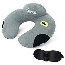 URAQT Almohadas de cuello de Viaje,Almohada de espuma con forma de U, soporte para el cuello y la cabeza para en case y outdoor, gris