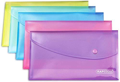 Rapesco 0690 Carpeta Sobre Portafolios con Broche DL, Colores Surtidos Transparentes, 5 unidades