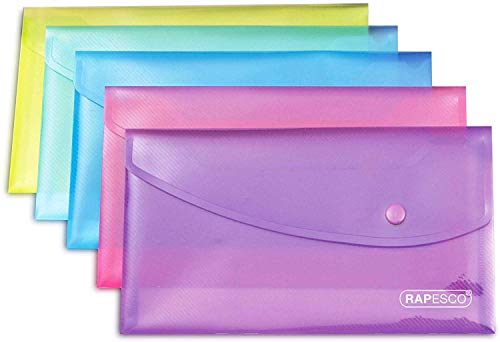 Rapesco Documentos - Carpeta portadocumentos tamaño sobre, colores variados, 5 unidades, 0690