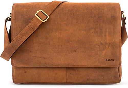 LEABAGS Oxford Umhängetasche Laptoptasche 15 Zoll aus Leder im Vintage Look, Brown As Vintage,