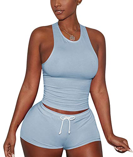 Sweetness Short Sexy PJ Camisole Set Pajama Sleep Shirt Sleepwear Light Blue Medium
