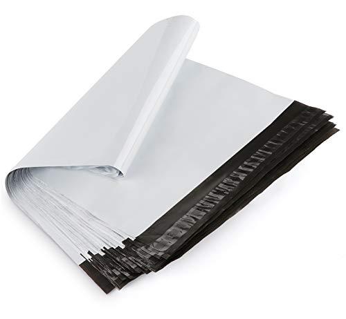 Homewit 60 Versandbeutel Plastik Versandtaschen 350 x 450mm + 50mm Versandtüten Warenbeutel,Selbstklebend und Blickdicht für Kleidung und Textilien-Weiße