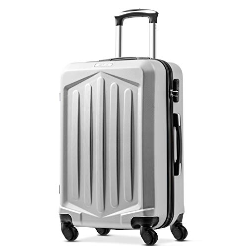 Nyyi Hard Shell Suitcases, Super Lightweight Suitcases, 4 Wheel Spinner Lightweight Suitcase, Carry on Cabin Hand Luggage Suitcase (28, Silver)