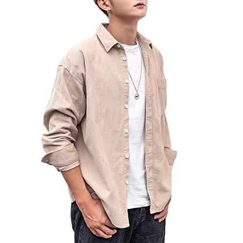Camisas de Manga Larga para Hombres Otoño e Invierno Tendencia de Ocio Espesa Camisas de Manga Larga con Bolsillos Chaqueta Informal Suelta L
