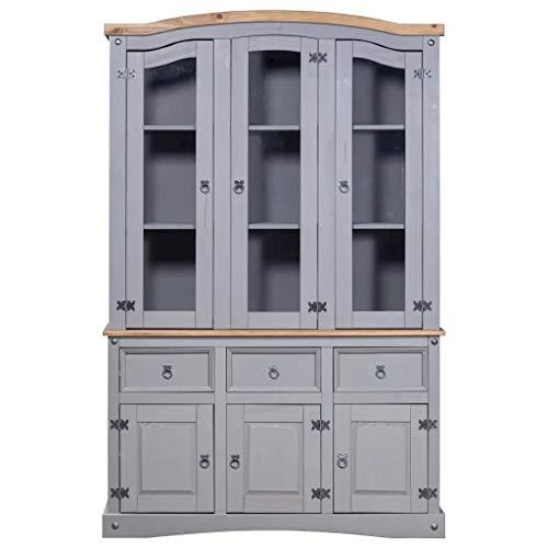 Cikonielf Aparador con vitrina de madera maciza de pino 132 x 43 x 196 cm Aparador rústico con 3 cajones, 3 armarios y 9 compartimentos – Gris con parte superior marrón
