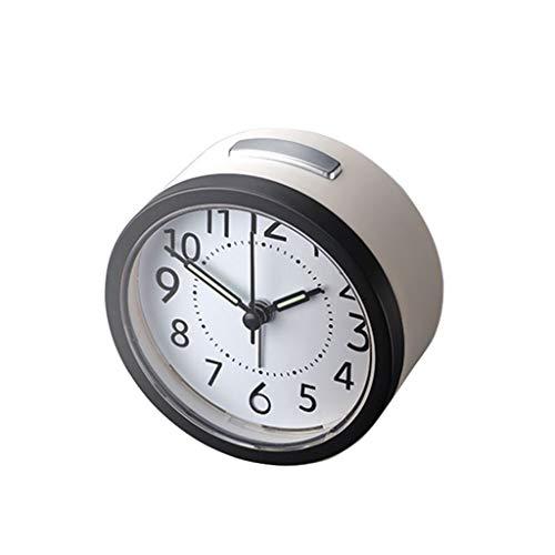 kerryshop Reloj Despertador Alarma silenciosa Posponer y luz Nocturna Fácil de operar Reloj Despertador for niños en Edad Escolar Batería Blanco Reloj de Escritorio