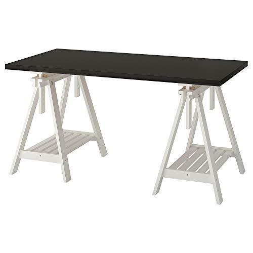 LINNMON/FINNVARD tafel 75x150 cm zwart-bruin/wit