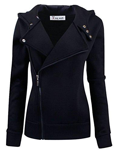 TAM WARE Women Slim fit Zip-up Hoodie Jacket TWHD1003-BLACK-M