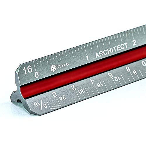 Stylo Architectural Scale Ruler - 12 Inch Laser Etched Triangle Drafting Ruler with Color-Coded Grooves for Blueprint, Drafting and Drawing (Imperial)