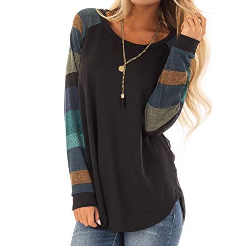 Damen T-Shirt Mode Frau Streifen O-Ausschnitt Lässige Tops T-Shirt Lose Lange Ärmel Oberteile Lange Ärmel Bluse