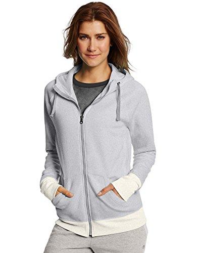 Champion Damen Fleece Full-Zip Hoodie Fleecejacke, Oxford Grey Heather/Haferflocken Heather, Medium