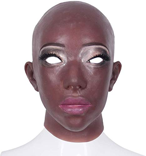 WBXNB Frauen Dunkle Haut Silikon Realistische Afroamerikaner Kopf Crossdresser Maske Handgemachte Make-Up Transgender Maske Halloween Rollenspiele Make-Up-Party