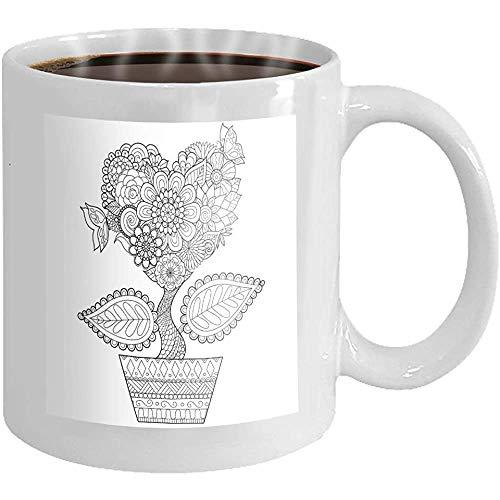 Kaffeebecher Blumen Herzform Topf Linie Kunst Design Malbuch Erwachsenen Grafikkarten Neuheit Keramik Geschenke Teetasse