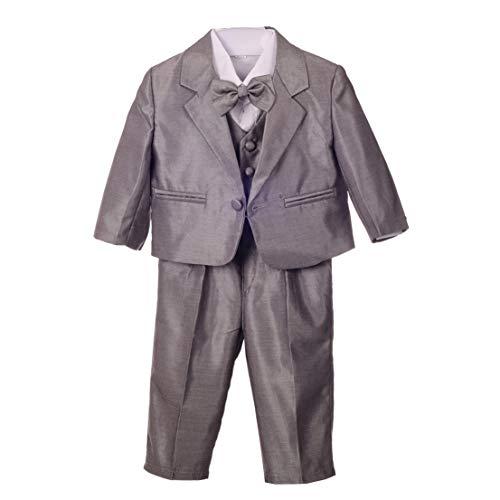 Lito Angels Jungen 5 Teiliges Formale Smoking Anzug Anlass Kleidung Page Boy Anzug Hochzeit Taufanzug 3 Jahre Silbergrau