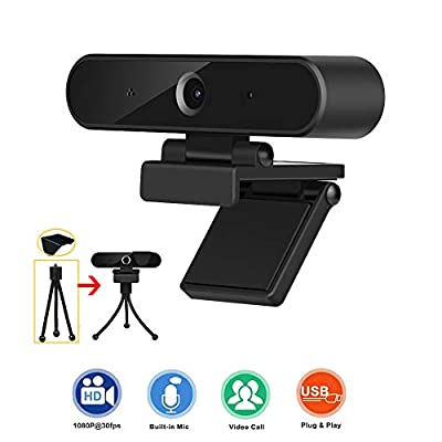 Webcam with Microphone, HD 1080P Webcam with Privacy Cover and Tripod, USB Computer Camera with Wide View Angle, PC Desktop Webcam for Video Calling Recording Conferencing