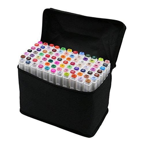 80 Varios Colores Arte Dibujo Rotulador, Doble Punta Doble Marcador Fluorescente con Funda de Transporte para la Animación Dibujo Pintura Garabateando Subrayando de Tinte Blanco