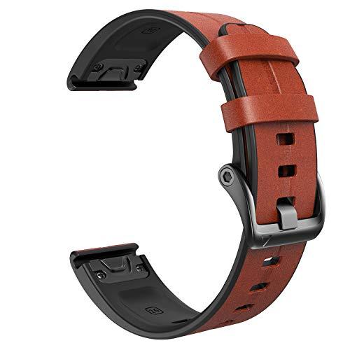 NotoCity for Fenix 5X Strap 26mm Leather Bands Quick Fit Replacement Strap for Garmin Fenix 6X6X Pro5X5X Plus33 HRDescent Mk1 Smartwatchdark brown