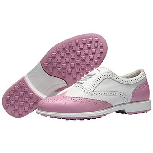 CGBF- Damen Spikeless Golfschuhe Leicht Atmungsaktiv Sneakers Wasserdicht Rutschfeste Sportschuhe Casual Walking Schuhe für Schlagen Mehr Stabilität, Pink - rose - Größe: 38.5 EU