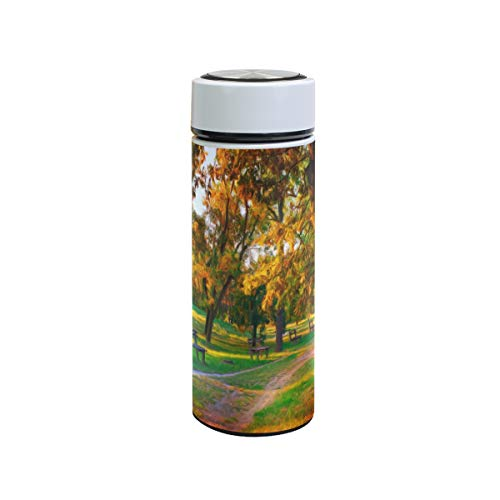 XiangHeFu thermoskan reisbeker sport houden koud of warm 12 oz waterfles lekvrij landschap schilderij herfstkleuren Park Tree Tea