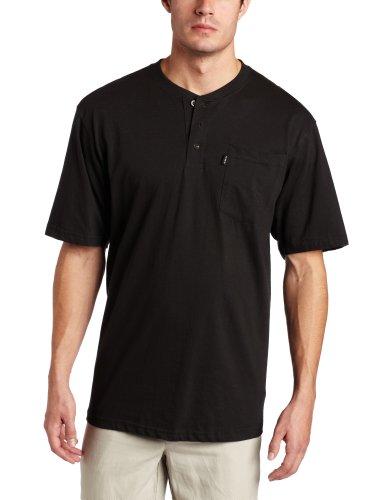 Key Industries Men's Big and Tall Big & Tall Heavyweight 3-Button Short Sleeve Henley Pocket T-Shirt, Black, 3X-Large