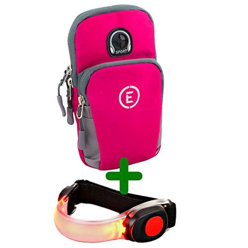 EchelonLine Brazalete deportivo prémium para teléfono móvil y móvil, para correr, para hacer deporte, para iPhone y Samsung (rosa con banda luminosa)
