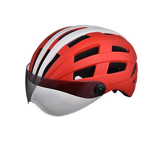 Stella Fella Cascos para hombre con gafas de montar a caballo Casco de bicicleta de una sola pieza para hombres y mujeres, transpirable, esmerilado luminoso casco de patinaje (color rojo y bla