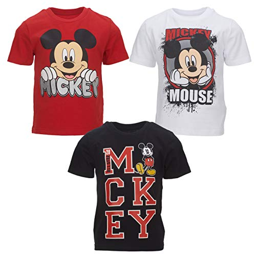 Disney Mickey Mouse Big Boys 3 Pack T-Shirts Short Sleeves White/Red/Black 7/8