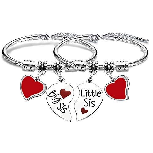 Sister Gifts, 2 Pcs Sister Bracelets Bangles for Women Girls Christmas Birthday Thanksgiving Gifts
