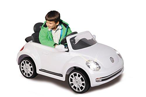 RC Auto kaufen Kinderauto Bild 3: Jamara 460220 - Ride-on VW Beetle weiß 27MHz 6V - Leistungsstarker Antriebsmotor und Akku, Ultra-Gripp Gummiring am Antriebsrad, LED-Scheinwerfer, Fahrertür lässt sich öffnen, Hupe und Sound*
