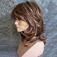 強い美しさの女性のかつらヨーロッパ系アメリカ人の女性のための自然な合成の短いボディウェーブブロンドの茶色のかつらの髪
