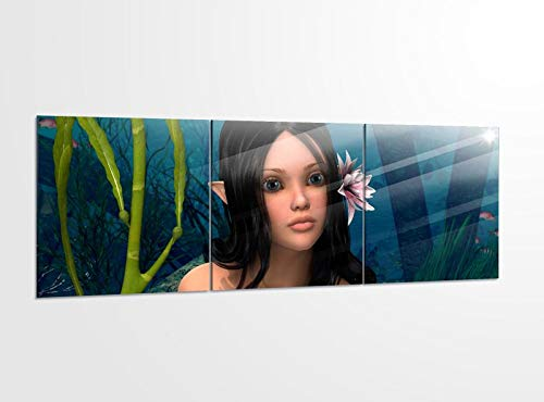 Acrylglasbilder 3 Teilig 150x50cm Meerjungfrau Sexy Meer Kinderzimmer Acrylbild Bilder Acrylglas Wand Bild Kunstdruck 14?5531, Acrylglas Größe 6:BxH Gesamt 150cmx50cm