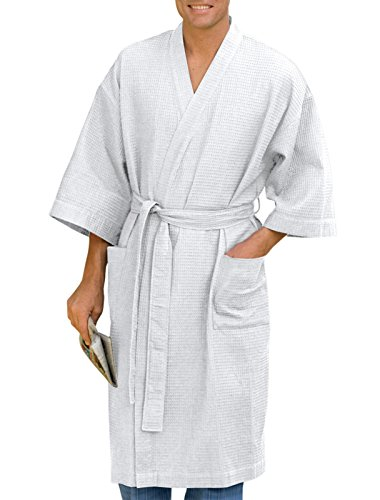 Harbor Bay by DXL Big and Tall Waffle-Knit Kimono Robe, White, 3X/4XL-TALL
