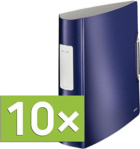 Leitz Qualitäts-Ordner 180° Active Style in gebürsteter Alu-Optik, A4, Runder Rücken, 8,2 cm Breite, Gummibandverschluss (10er Pack, Titan-Blau)