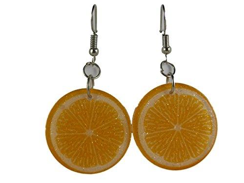 Ohrringe Ohrhänger Hänger Orange Scheibe Glitzer Cocktail Sommer Frucht Obst leicht am Ohr 7654