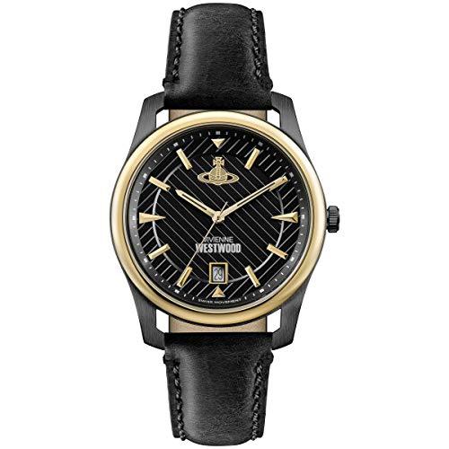 Vivienne Westwood Holborn Reloj de cuarzo para hombre con esfera negra y correa de cuero negro