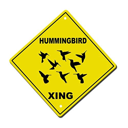Hummingbird Crossing Novelty Sign Aluminum Metal Sign 12x12 inch