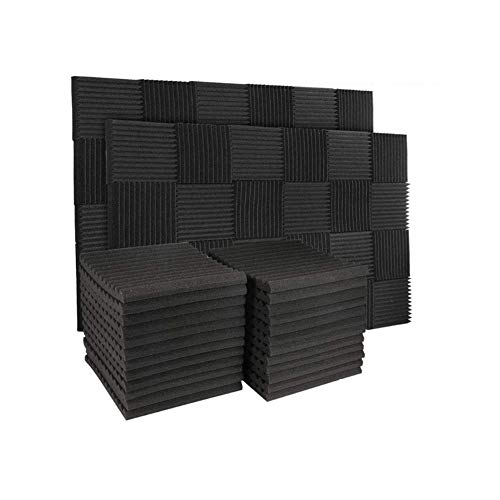 "50 Pack Acoustic Panels Soundproof Studio Foam for Walls Sound Absorbing Panels Sound Insulation Panels Wedge for Home Studio Ceiling, 1"" X 12"" X 12"", Black (50PCS Black)"
