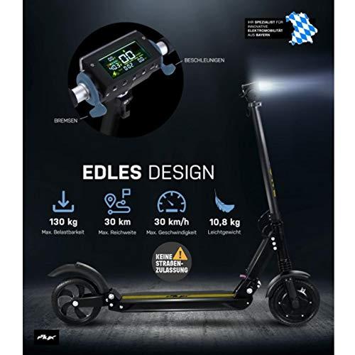 eFlux Lite One Elektroroller Scooter - 500 Watt Motor - Bis 30 km/h - 30 Km Reichweite - Nur 10,8 Kg leicht - Klappbar - E-Scooter (Lite One Schwarz Gelb)