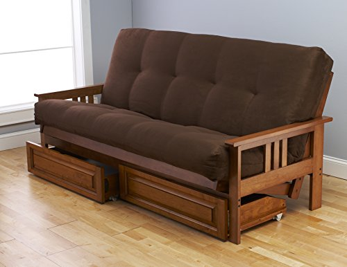 Toronto Futon Set Frame and Mattress Full Size Wood Finish w/ 8 Inch Innerspring Matt Includes Choice to add Drawers Sofa Bed Couch Sleeper (Frame, Matt and Drawers Set, Chocolate)