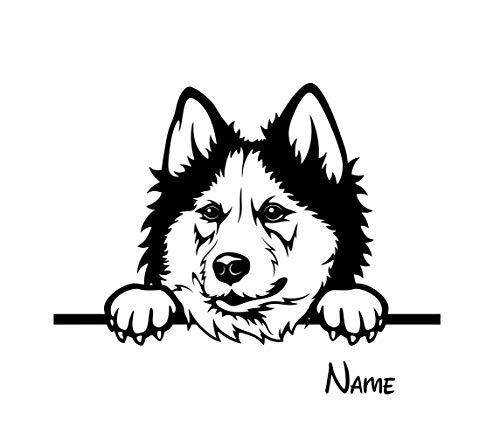 BlingelingShirts Auto Aufkleber Husky Hund Plus Name Wunschname schwarz matt Wandaufkleber Wandtattoo Autoaufkleber