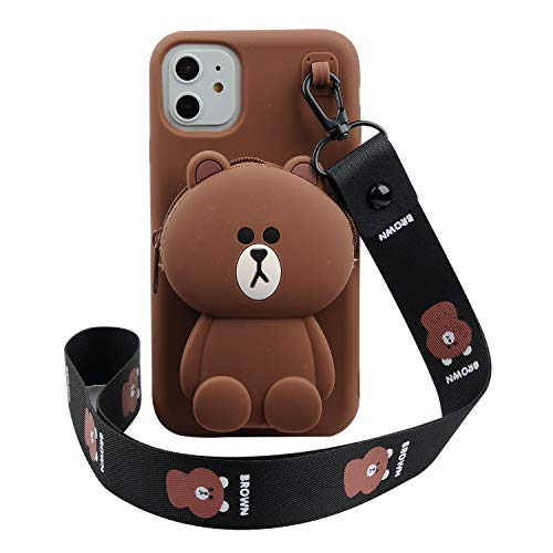 Phenix Color Cartoon Bear Case for iPhone 11 6.1' 3D Cute Soft Silicone Animated Fashion Protective Back Cover with Pocket and Detachable Necklace for iPhone 11 6.1' (Bear, iPhone 11 6.1')