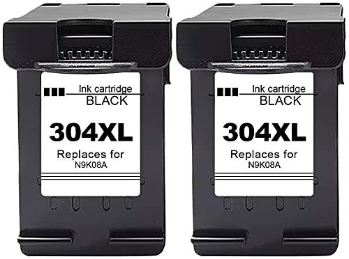 Gmoher Remanufacturado Cartucho de Tinta Reemplazo para HP 304 304XL Negro Cartucho de Tinta N9KO8A Compatible con HP DeskJet 3720 3730 3732 3735 HP Envy 5020 Impresora (2 Negro)