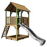 AXI Spielhaus Pumba mit Sandkasten & Grauer Rutsche | Stelzenhaus in Braun & Grün aus FFC Holz für Kinder | Spielturm mit Wellenrutsche für den Garten