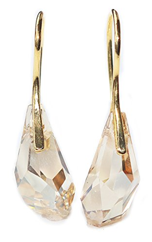 GIFT BOXED! Ah! Jewellery Genuine 17mm Golden Shadow Polygon Drop Hand Crafted Crystals From Swarovski Earrings. Vermeil 24k Gold Over Sterling Silver. Easy Fish Hook Back Finding. Stamped 925.