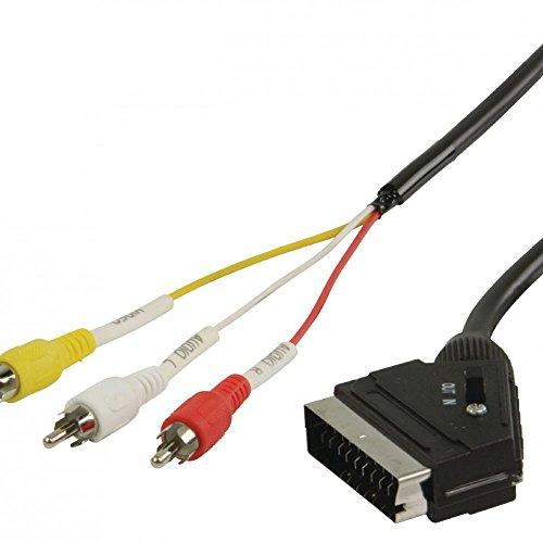 Valueline SCART/3x RCA, 1m SCART (21-pin) 3 x RCA Negro - Adaptadores...