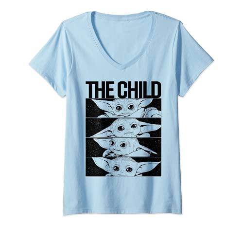 Mujer Star WarsStar Wars Mandalorian The Child B&W Comic Strip Camiseta Cuello V