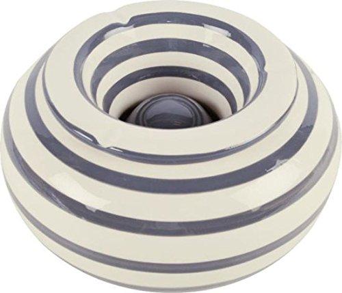Sturmaschenbecher XXL Streifen weissgrau Ø22cm aus Keramik