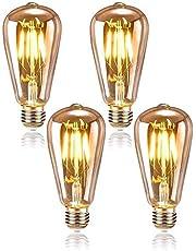 Queta Edison Bombilla E27 4W Iluminación Vintage ST64 Lámpara Retro Ideal para Cafetería Bar Restaurante Boda Decoración Navideña etc. 4 Pack