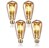 Queta Edison Bombilla E27 4W Iluminación Vintage ST64 Lámpara Retro de Filamento de Tungsteno Ideal para Cafetería Bar Restaurante Boda Decoración Navideña etc. 4 Pack (Type2)